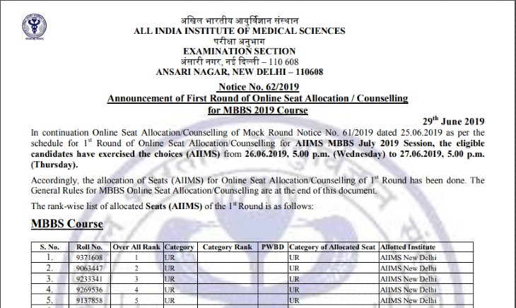 AIIMS-2019-counseling-process-result