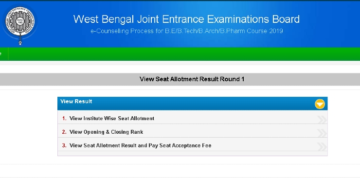 WBJEE first round counseling 2019
