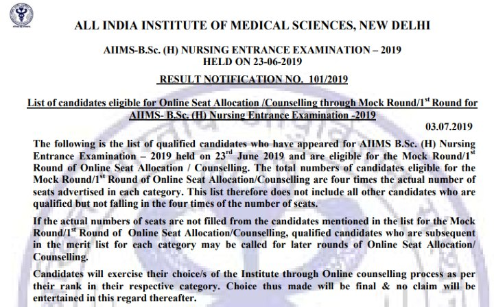 AIIMS first round counseling 2019